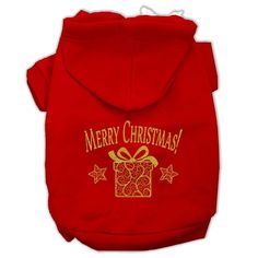 Golden Christmas Present Pet Hoodies Red Size XXL (18)
