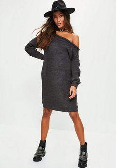 Charcoal Grey Off Shoulder Knitted Jumper Dress, Grey