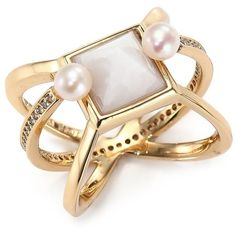 Eddie Borgo White Lace Agate, 4.5MM White Pearl & Crystal Orbit Ring (1,550 CNY) ❤ liked on Polyvore
