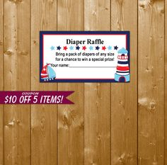 Nautical Diaper Raffle, Diaper Raffle Ticket Baby Shower Diapers Printable Nautical Diaper Raffle, SF03O Instant Download, Invitation Insert