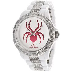 ToyWatch Women's K18WH Spider White Stainless Steel Watch ($126) ❤ liked on Polyvore featuring jewelry, watches, white, white watches, white jewelry, dial watches, toy watch and toy watch watches