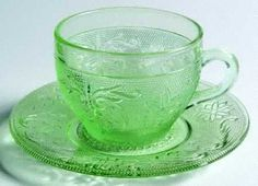 Depression glass lime green cup and saucer  blog.hairshoppingmall.com www.hairshoppingmall.com