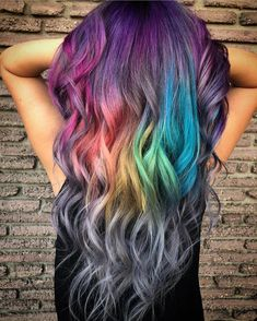 36 Awesome Women Rainbow Hair Colors Ideas Perfect For This Summer - I began coloring my hair at 13 years old. I was exhausted with my boring hair color, and being a young person, I was exhausted with life. I realized I. Vivid Hair Color, Pretty Hair Color, Hair Dye Colors, Weird Hair Colors, Rainbow Hair Colors, Hair Lights, Light Hair, Purple Hair, Ombre Hair