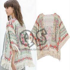 moda mujer españa 2014 estilo gasa blusa kimono estampado floral borla chaqueta mujer ropa camisetas blusas gasa q120 femininas en Blusas y Camisas de Moda y Complementos en AliExpress.com   Alibaba Group