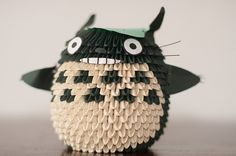 3D Origami -- What is this? A cat... penguin... with a leaf on it's head...