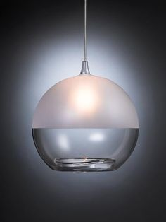 Milk Glass Pendant Light, Clear and Frosted - contemporary - Pendant Lighting - Ohr Lighting Blown Glass Pendant Light, Blown Glass Chandelier, Glass Pendants, Globe Chandelier, Contemporary Pendant Lights, Pendant Lighting, Pendant Lamps, Bronze Pendant, Star Pendant
