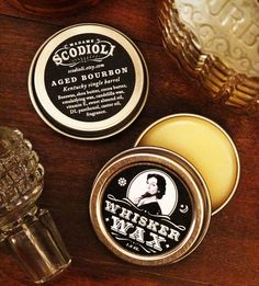 Aged Bourbon Whisker Wax - To moisturize, add shine, and improve hair structure. Apply lightly to tame stray hairs on beards, sideburns, eyebrows, mustaches and goatees.