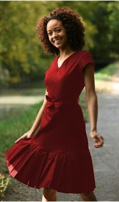 Modest red dress. Proving that modest can be cute and stylish! SO take that shorts that look like underwear, skimpy skirts and see through shirts!!    Needs undershirt