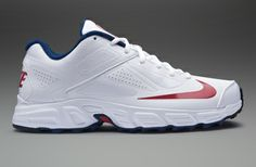 Nike Potential Junior Cricket Shoes - Boys Cricket Shoes - White-Blue-Red 6f9fc35f6
