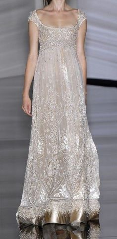 Elie Saab. Love everything except the very bottom. #WhiteDressThis Elegant gown is of such delicate, exquisite Beauty & it is so ultra feminine..K♥