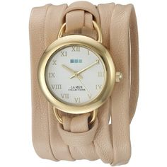 La Mer Collections Women's LMSATURN15004 Gold-Tone Watch with... ($84) ❤ liked on Polyvore featuring jewelry, watches, gold-tone watches, stainless steel watches, wrap around watches, dial watches and wraparound watches