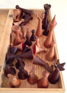 Unusual mid-century modern chess set, handcarved wood from ebay archives.