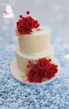 Cool Wedding Cakes, Beautiful Wedding Cakes, Wedding Cake Designs, Beautiful Cakes, Creative Cake Decorating, Cake Decorating Videos, Red Velvet Cake Decoration, Red Velvet Wedding Cake, Birthday Cake With Flowers