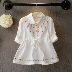 Baby girls casual summer long-sleeved shirt dress - Mom Dress Casual - ideas of Mom Dress Casual - Baby girls casual summer long-sleeved shirt dress Girls Frock Design, Baby Dress Design, Baby Girl Dress Patterns, Kids Summer Dresses, Dresses Kids Girl, Kids Outfits, Cotton Frocks For Kids, Frocks For Girls, Baby Girl Frocks