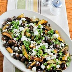 Roasted Balsamic Zucchini and Mushrooms with Feta and Thyme http://kalynskitchen.ziplist.com/recipes/1865464-Roasted_Balsamic_Zucchini_and_Mushrooms_with_Feta_and_Thyme