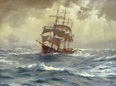 A Barque Running Before A Gale Painting by MotionAge Designs