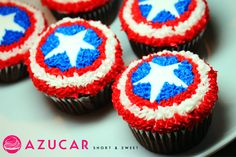 39 Trendy Cupcakes Decoration For Boys Super Heros Cupcakes Capitan America, Captain America Cupcakes, Captain America Birthday Cake, Captain America Party, Avengers Birthday, Superhero Birthday Party, Birthday Ideas, 5th Birthday, Pastel Capitan America