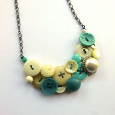 Aqua and Pearl Vintage Button Jewelry by buttonsoupjewelry on Etsy, $35.00