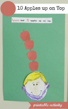 10 Apples up on Top activity-- printable templates and bulletin board headers-- part of apple unit for prek-1 grade $