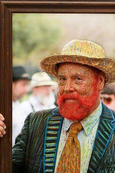 Man dressed as Van Gogh painting. Amazing.