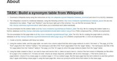 Build a synonym table from Wikipedia http://wikisynonyms.ipeirotis.com/page/about