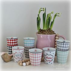 Love Spring ♥ Happy Mugs Krasilnikoff www. Koti, Planter Pots, Mugs, Spring, Happy, Tumblers, Ser Feliz, Mug, Cups