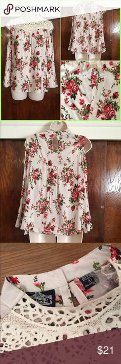 """Cold Shoulder Floral Lace Trim Top 100% Rayon 2 button closure at neck in back with keyhole lace trim in edge of sleeve Comes with extra button and thread Bust 40"""" Length 23"""" Angie Tops Blouses"""