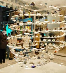 A teacups and saucers giant hanging sculpture! Now that is art!