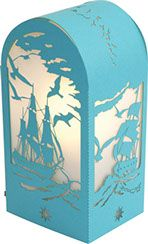 Laser cut souvenir lamp kit. Ships at sea. Birds. Blue. Elecrical system & LED optional