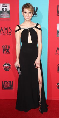 The Stars Who Slayed the Red Carpet in Saint Laurent by Hedi Slimane - Emma Roberts, 2014  - from InStyle.com