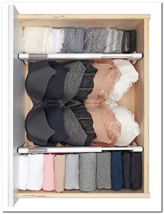 Organization bedroom - These drawers dividers help organize any drawer and are easy to install requiring no tools! Make organizing, tidying, simplifying and decluttering your bedroom fun and easy with these musthave Master Bedroom Drawers, Closet Bedroom, Bedroom Fun, Master Bedroom, Bedroom Storage, Bra Storage, Master Closet, Closet Storage, Drawers For Closet