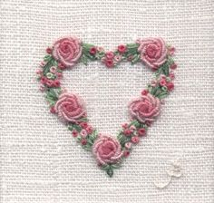Rose Heart - hand embroidery More