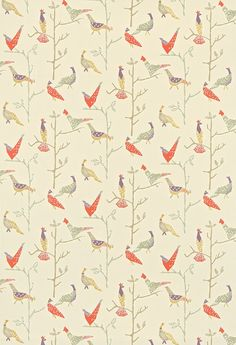 Passaro (120205) - Scion Fabrics - A quirky, simplistic lino-cut design of stylised pheasant-like birds and branches. Shown in the terracotta and natural colourway. Please request sample for true colour match.
