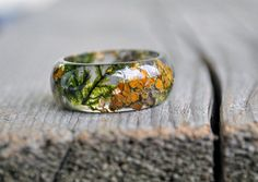 Terrarium Resin Ring Nature Statement Ring Men Ring Eco by VyTvir
