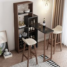 Nordic home folding mini bar tables wine cooler retractable partition table modern minimalist living room entrance kitchen cabinets Small Bar Table, Home Bar Table, Home Bar Counter, Home Bar Decor, Bar Tables, Dining Table, Dining Chairs, Bar Table Design, Kitchen Bar Design