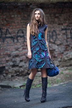 Felted Paisley Dress by Ukrainian artist, Diana Nagorna