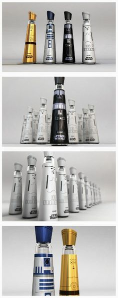 Evian water bottles designed by Mandy Brencys to look like 'Star Wars' characters and lightsabers.