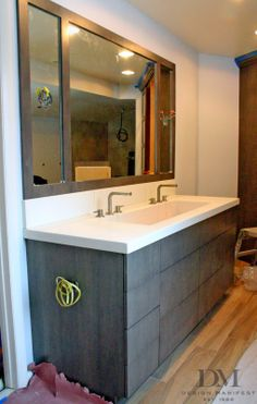 Modern grain stained wood with concrete trough sink Trough Sink Bathroom, Condo Bathroom, Small Bathroom, Master Bathroom, Bathroom Ideas, Basement Bathroom, Bathroom Designs, Bad Inspiration, Bathroom Inspiration