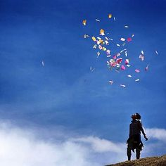 "Regram @beckygc89. ""At the peak of Sera Ütse above Lhasa, a pilgrim releases windhorse prayer papers into the sky."" Happy #Losar to everyone celebrating today!  #tibetannewyear #nepal #tibet #himalaya #wanderlust #instatravel #lungta #newyearnewhope"