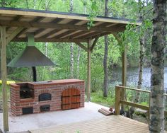 Kesäkeittiö katoksen alla, seuraavaksi projektiksi! Outdoor Smoker, Outdoor Fire, Outdoor Areas, Outdoor Dining, Outdoor Structures, Outdoor Decor, Brick Bbq, Patio Grill, Summer Kitchen