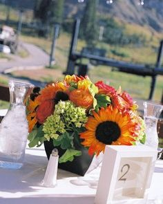 Flowers, Reception, Centerpiece, Decor, Wedding, Table numbers, Lake