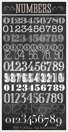Free Fonts and Printable Combinations - Chalkboard number fonts Chalk Lettering, Typography Fonts, Chalkboard Lettering Alphabet, Lettering Ideas, Lettering Tattoo, Cursive Fonts, Lettering Styles, Fancy Fonts, Cool Fonts