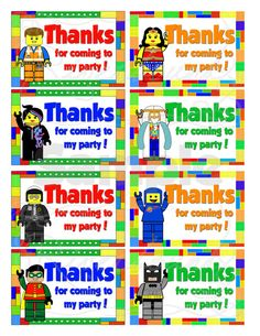 Printbale LEGO Thank You Party Tags/ Favor Labels by RiverBound