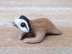 Sloth: Handmade miniature polymer clay animal figure