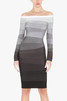 dig dug....  HERVE LEGER STEPHANIE OFF-THE-SHOULDER OMBRE BANDAGE DRESS