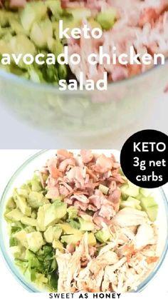 Avocado Chicken Salad, Chicken Salad Recipes, Healthy Salad Recipes, Low Carb Recipes, Diet Recipes, Salad With Chicken, Poulet Keto, Cena Keto, Comida Keto