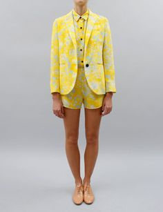 Creatures of Comfort Dree Blazer- Yellow floral heavy silk