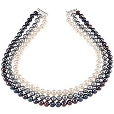 This DaVonna tri-strand pearl necklace features 9-10 mm pearls of three colors, black, grey, and white. The necklace has a toggle clasp made of sterling silver. The necklace is 16 long and is made of grade-AA, cultured freshwater pearls.
