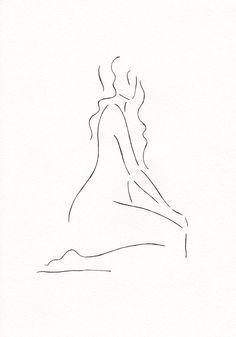 Minimalist drawing. Black and white nude figure. Original artwork. A4 8.3 x…
