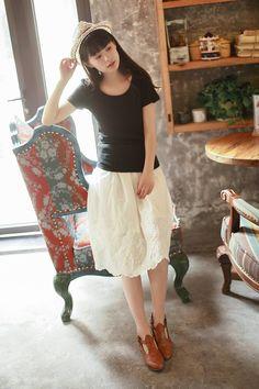 2015 summer new women's cotton skirts literary Fan Sen female line skirt pleated A-line skirt solid student - Taobao